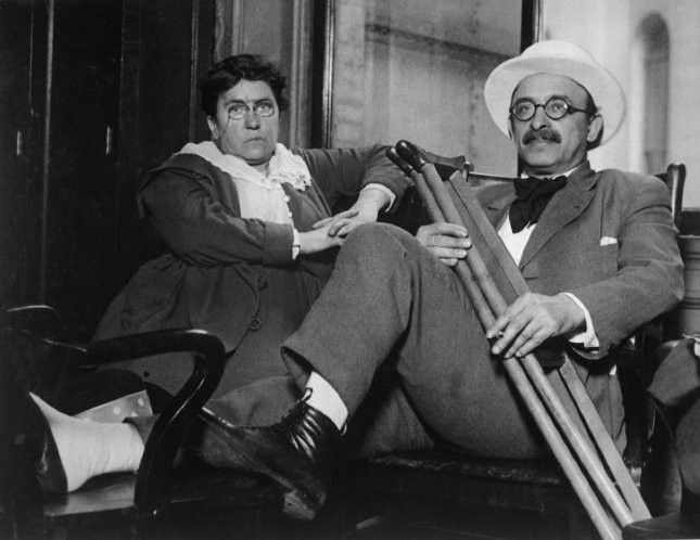 Emma Goldman and Alexander Berkman, both of whom were convicted of conspiracy against the draft law and sentenced on July 9, 1917 to two years in prison and fined $10,000 each. The pair were deported from the United States and arrived in Hanko, Finland on January 17, 1920. File Photo by NARA/UPI