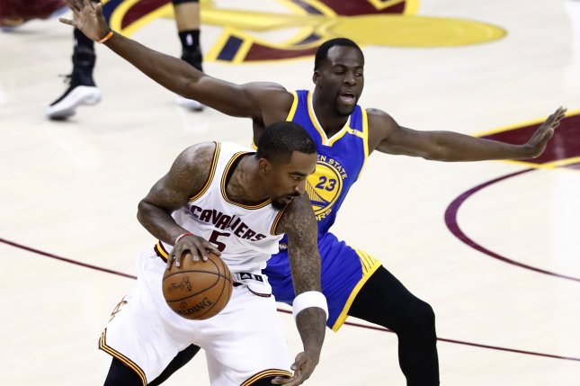 Cleveland Cavaliers guard J.R. Smith (L) and Golden State Warriors forward  Draymond Green (R) in action in the first half of Game 3 of the NBA Finals  at ... eb2b06143
