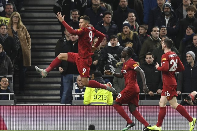 Liverpool's Roberto Firmino (L) scored for the first time since Dec. 26 in the Reds win against Tottenham Hotspur Saturday in London. Photo by Neil Hall/EPA-EFE