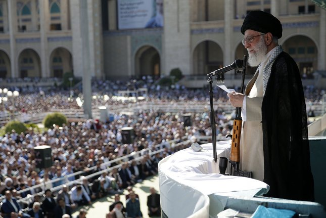 Ayatollah Seyyed Ali Khamenei says Tehran will continue abandoning commitments to the 2015 nuclear deal as long as the United States keeps hitting Iran with sanctions. File Photo courtesy of Iran supreme leader's office/EPA-EFE