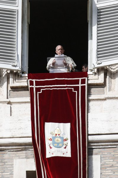 Pope Francis gives the Angelus prayer in St. Peter's Square, Vatican City, on Sunday. Photo by Giuseppe Lami/EPA-EFE