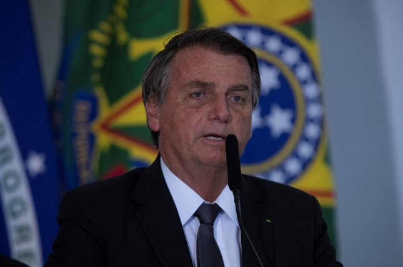 Brazilian President Jair Bolsonaro speaks during a ceremony at the Planalto Palace in Brasilia, Brazil, on July 13. Photo by Joedson Alves/EPA-EFE