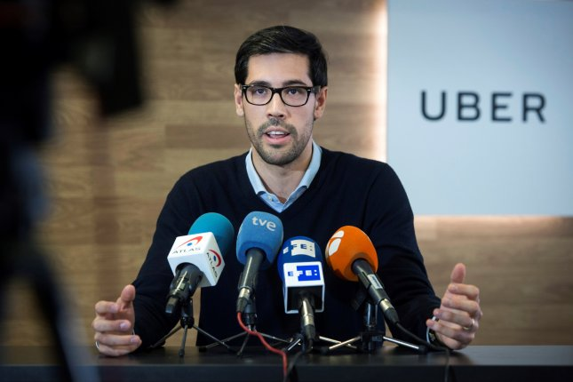 Juan Galiardo Sosa, head of Spain at Uber, speaks during a press conference held to announce the company's cease of operation in Barcelona, in Madrid, Spain, on Thursday. Photo by Luca Piergiovanni/EPA-EFE