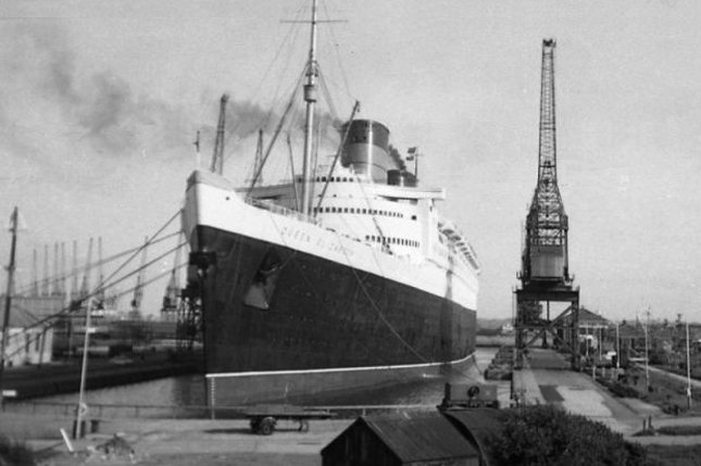 On September 27, 1938, Queen Elizabeth christened the world's largest ocean liner with her own name during a ceremony in Scotland. File Photo by Ian Taylor/Wikipedia.