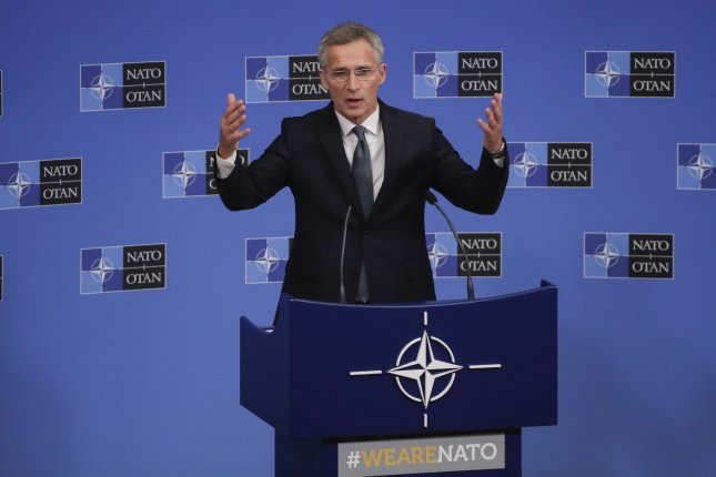NATO Secretary-General Jens Stoltenberg gives a press conference ahead of the foreign ministers meeting at NATO headquarters in Brussels on Tuesday. Photo by Olivier Hoslet/EPA-EFE
