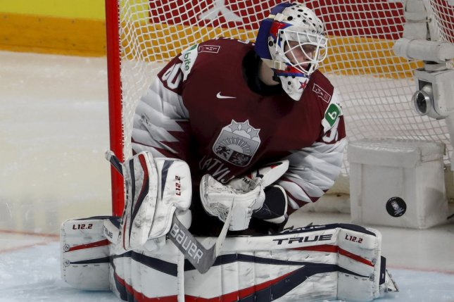 Matiss Kivlenieks is shown playing for Latvia during the IIHF 2021 World Ice Hockey Championships in Riga, Latvia, on May 28. File Photo by Toms Kalnins/EPA-EFE