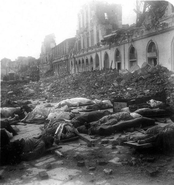 Bodies of victims lie in Messina, Italy, after an earthquake struck the region December 28, 1908. File Photo by Luca Comerio/Wikimedia