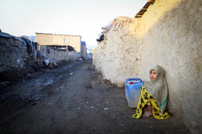 A displaced girl is seen at a temporary shelter in Kabul, Afghanistan, on April 29. Friday's survey showed that Afghanistan has the greatest share of citizens in the high vulnerability category. File Photo by Hedayatullah Amid/EPA-EFE