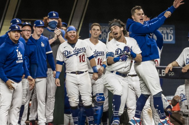 Los Angeles Dodgers center fielder Cody Bellinger (35) dislocated his right shoulder while celebrating after a home run during the seventh inning against the Atlanta Braves in Game 7 of the National League Championship Series on Oct. 18. File Photo by Tannen Maury/EPA-EFE