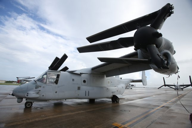 A U.S. Marine Corps MV-22 Osprey is parked at Futenma Air Station, in Okinawa, Japan. The U.S. military will cede part of its Okinawa base to Japan in exchange for the construction of Osprey helipads. Photo by Lance Cpl. Brooke Deiters/ (U.S. Marine Corps/UPI
