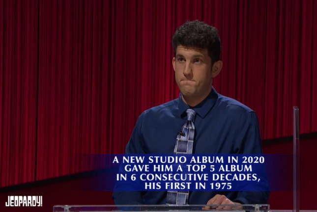 Matt Amodio, shown here winning his 33rd straight game of Jeopardy! last week, saw his streak end at 38 on Monday. File Photo courtesy of Jeopardy!/Twitter