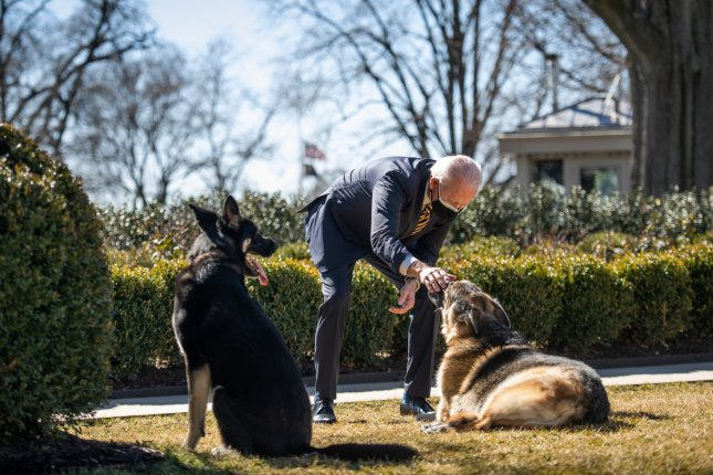 The White House said President Joe Biden's dog Major (R) bit a National Park Service employee but that there was no injury. File Photo by Ana Isabel Martinez Chamorro/White House