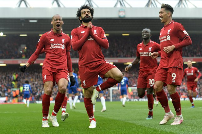 Liverpool's Mohamed Salah (C) is tied for the Premier League lead in goals at 19 scores on the season after scoring against Chelsea Sunday at Anfield in Liverpool, England. Photo by Peter Powell/EPA-EFE