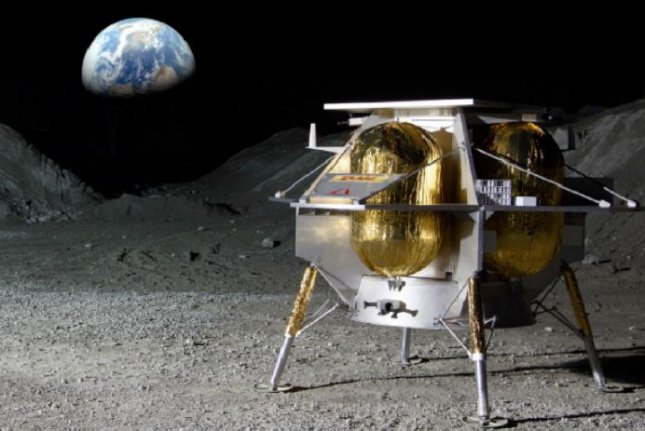 Pittsburgh-based Astrobotic's Peregrine lunar lander, scheduled for a 2021 moon mission, is shown in this artist's concept on the moon's surface, with Earth in the background. Image courtesy of Astrobotic Technology
