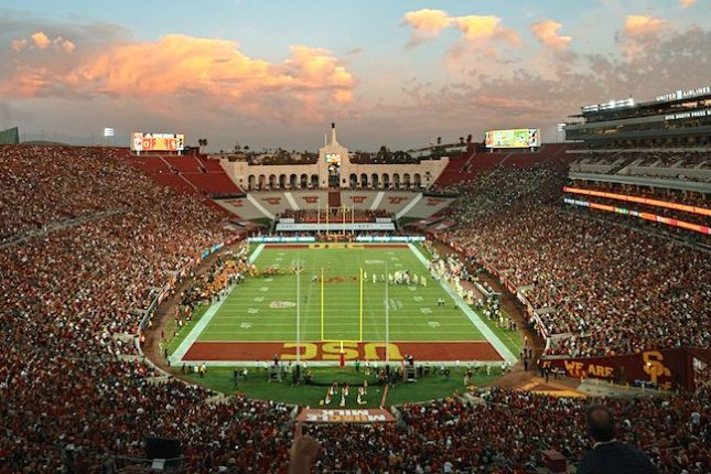 The USC Trojans were scheduled to host the Colorado Buffaloes on Saturday at the Los Angeles Memorial Coliseum before the game was declared a no-contest by the Pac-12 due to positive COVID-19 tests. Photo courtesy of Wikimedia Commons