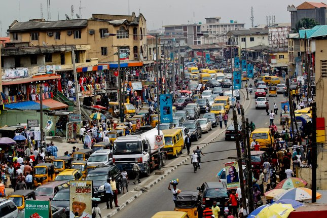 A partial view of the commercial center in downtown Ikeja, Lagos, Nigeria. A recent study found that air pollution is responsible for 1 in 5 infant deaths in sub-Saharan Africa. File Photo by Ahmed Jallanzo/EPA