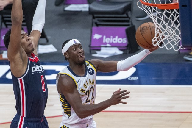 Indiana Pacers guard Caris LeVert (R), shown May 3, 2021, has averaged 24.8 points over the past 10 games. File Photo by Shawn Thew/EPA-EFE
