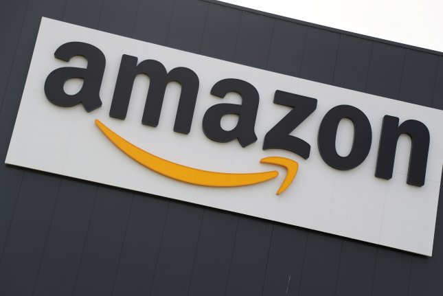 A view of the logo on an Amazon logistic and distribution center in Werne, Germany on November 7, 2017. Amazon filed a lawsuit against New York Attorney General Leticia James Friday to prevent legal action against it. Photo by Friedemann Vogel/EPA-EFE