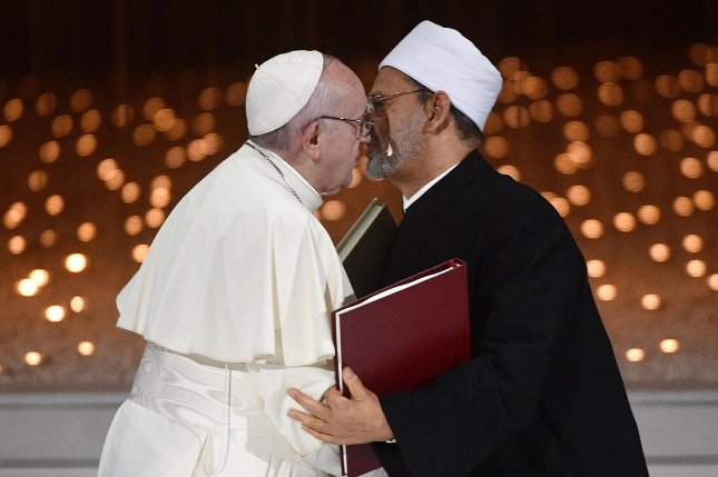 Pope Francis (L) and Grand Sheik Ahmed al-Tayeb, the head of Al-Azhar, the Sunni Muslim world's premier Islamic institution, appear during a conference at Founders Memorial in Abu Dhabi, United Arab Emirates. Photo by Luca Zennaro/EPA