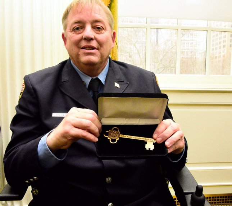 Ray Pfeifer received a key to New York City last year from Mayor Bill de Blasio. Photo courtesy FDNY via Twitter