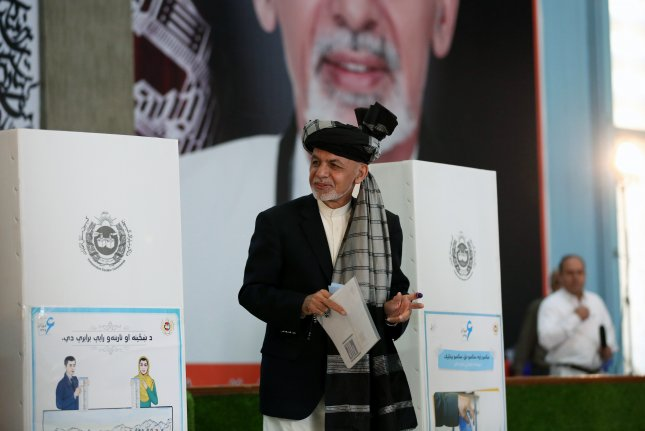 Afghan President Ashraf Ghani votes in the presidential election at a polling station in Kabul, Afghanistan, on September 28, 2019. He was ultimately declared the winner. File Photo by Jawad Jalali/EPA-EFE