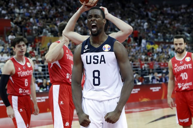 Team USA forward Harrison Barnes reacts after a play against Turkey during the 2019 FIBA Basketball World Cup on Tuesday in Shanghai, China. Photo by Wu Hong/EPA-EFE