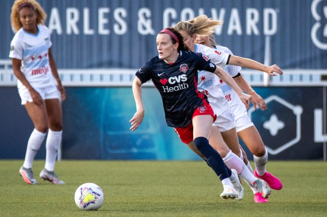 United States Women's National Team star Rose Lavelle (C) and the Washington Spirit will face the Houston Dash in the NWSL Challenge Cup at 12:30 p.m. EDT Sunday in Herriman, Utah. Photo courtesy of Rob Gray/ISI Photos