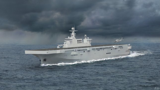 An artist's rendition of the Type 075 amphibious assault ship. Photo by 星海军事/Wikimedia Commons