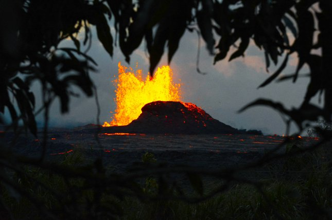 Kilauea Volcano's Lava Seen from Space Glowing at Night
