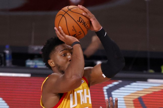 Utah Jazz guard Donovan Mitchell made 15 of 27 shots and scored 51 points in a playoff win over the Denver Nuggets Sunday in Orlando, Fla. Photo by John G. Mabanglo/EPA-EFE