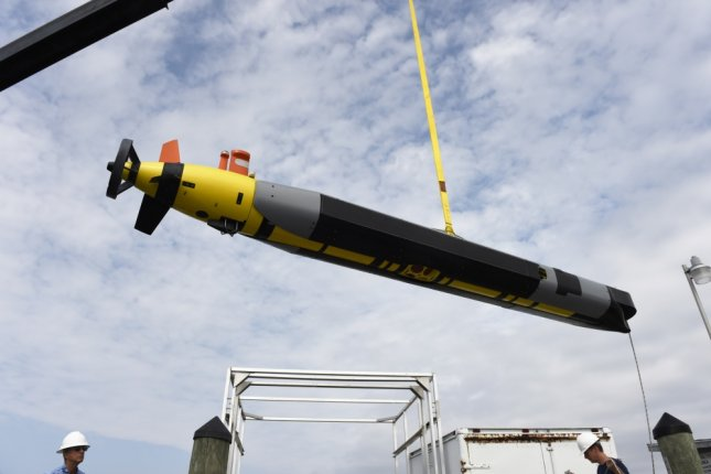 A REMUS 600 autonomous underwater vehicle from the University of Texas at Austin in 2015. The Navy on Wednesday issued a request for proposals on a large unmanned surface vehicle. File Photo by John F. Williams/U.S. Navy/UPI