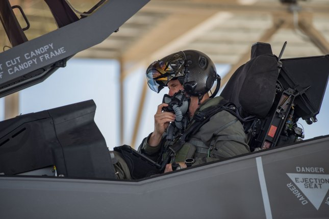 U.S. Air Force Col. Scott Mills, F-35 Lightning II pilot assigned to the 64th Aggressor Squadron, performs pre-flight checks before launching to participate in Red Flag 21-3 at Nellis Air Force Base, Nev., on Tuesday. Photo by Zachary Rufus/U.S. Air Force