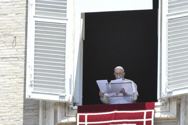 Pope Francis delivered his first address from the Apostolic Palace at the Vatican after undergoing surgery for colon diverticulitis two weeks ago. File Photo by Claudio Peri/EPA-EFE