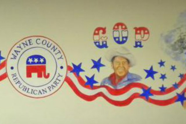 A mural that included former President Ronald Reagan at the Wayne County Republican Party headquarters in Goldsboro, N.C., was vandalized. Photo Courtesy Wayne County Republican Party/Facebook