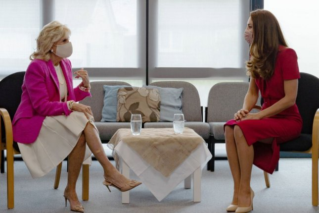 First lady Jill Biden (L) meets with the Kate Middleton, Duchess of Cambridge, to speak about early childhood education during first day of the G7 Summit in Cornwall, United Kingdom, on Friday. Photo courtesy of The Duke and Duchess of Cambridge/Twitter