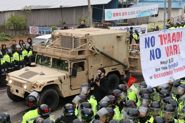 A U.S. military trailer carrying elements of the Terminal High Altitude Area Defense (THAAD) system enters a golf course in Seongju, about 300 kilometers southeast of Seoul, South Korea on April 26. Photos by Yonhap News Agency/UPI