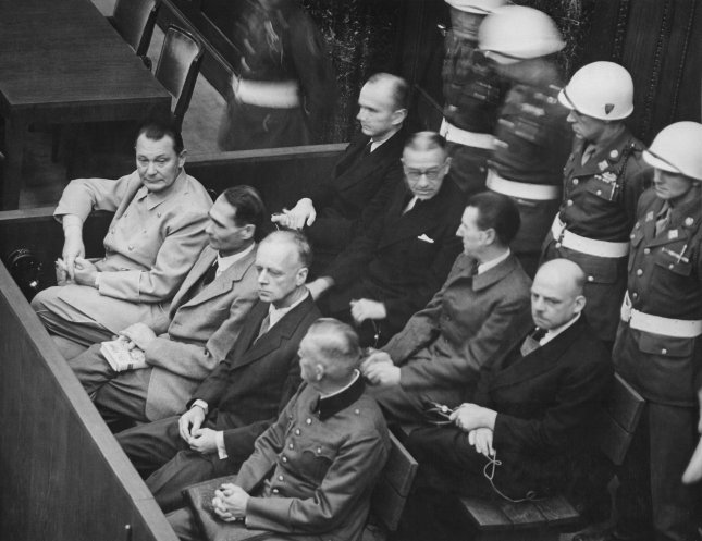 Defendants in the dock at the Nuremberg trials ca. 1945-1946. The main target of the prosecution was Hermann Goering (at the left edge on the first row of benches), considered to be the most important surviving official of the Third Reich following Hitler's death. File Photo by U.S. Army/UPI