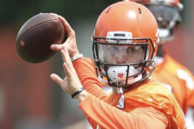 Cleveland Browns quarterback Baker Mayfield throws a pass on June 13 at minicamp in Berea, Ohio. Photo courtesy of the Cleveland Browns