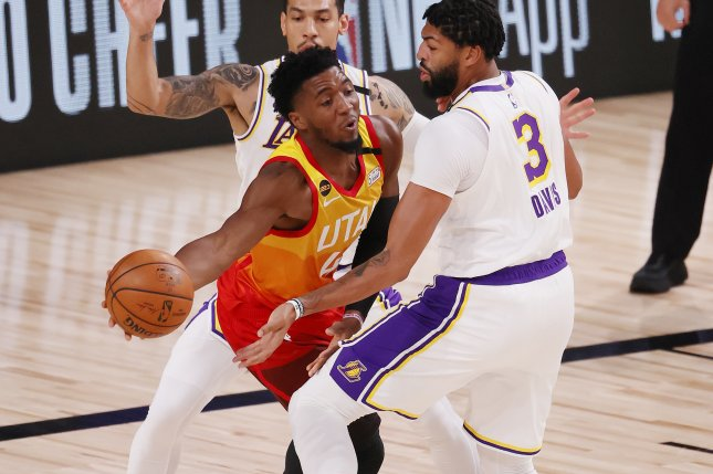 Utah Jazz guard Donovan Mitchell (C), who also was disciplined for his conduct while exiting the court after Wednesday's loss to the Philadelphia 76ers, was fined $25,000. File Photo by Erik S. Lesser/EPA-EFE