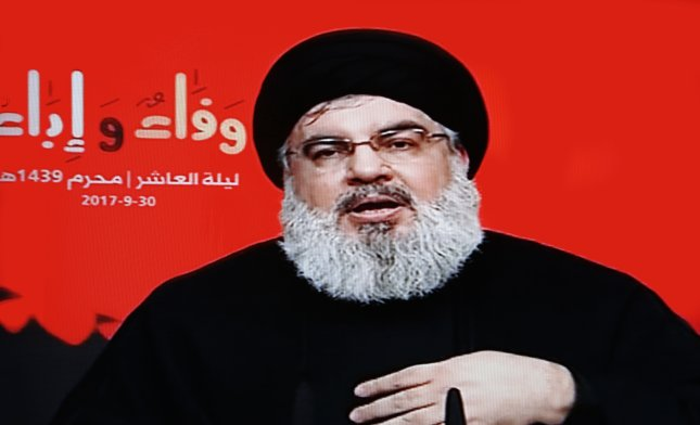 The sanctions come days after the Trump administration labeled Iran's Islamic Revolutionary Guard Corps a terrorist organization, which Hezbollah leader Sayed Hassan Nasrallah condemned. Photo by EPA-EFE/AL-MANAR TV GRAB