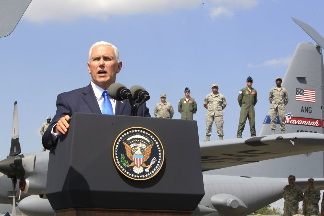 Vice President Mike Pence addresses U.S. military personnel participating in joint multinational military exercises in Tbilisi, Georgia on Tuesday. Photo by Shakh Aivazov/pool/EPA