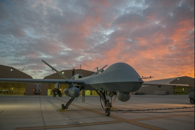 An MQ-9 Reaper equipped with an extended range modification from the 62nd Expeditionary Reconnaissance Squadron sits on the ramp at Kandahar Airfield, Afghanistan, on Dec. 6, 2015. The Pentagon confirmed the leader of the Islamic State's branch in Afghanistan, Abu Sayed, was killed by an American drone strike on Tuesday. File Photo by Tech. Sgt. Robert Cloys/U.S. Air Force