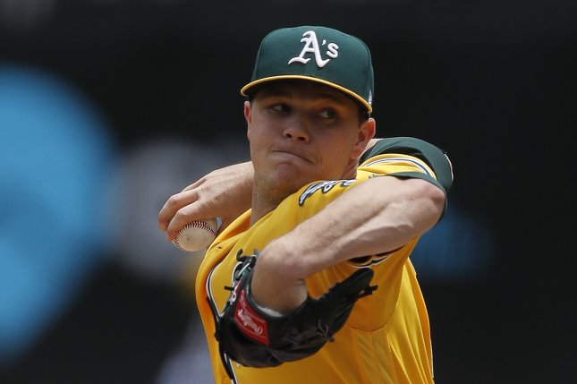 Oakland Athletics starting pitcher Sonny Gray winds up for a pitch against the Miami Marlins during the first inning of their MLB game on May 24 at the Oakland Coliseum in Oakland, Calif. File photo by John G. Mabanglo/EPA