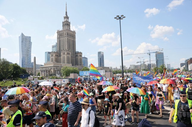Thousands of people participated in an LGBTQ Equality Parade in Warsaw Saturday amid what marchers described as rising homophobia in Poland. Photo by Leszek Szymanski/EPA-EFE
