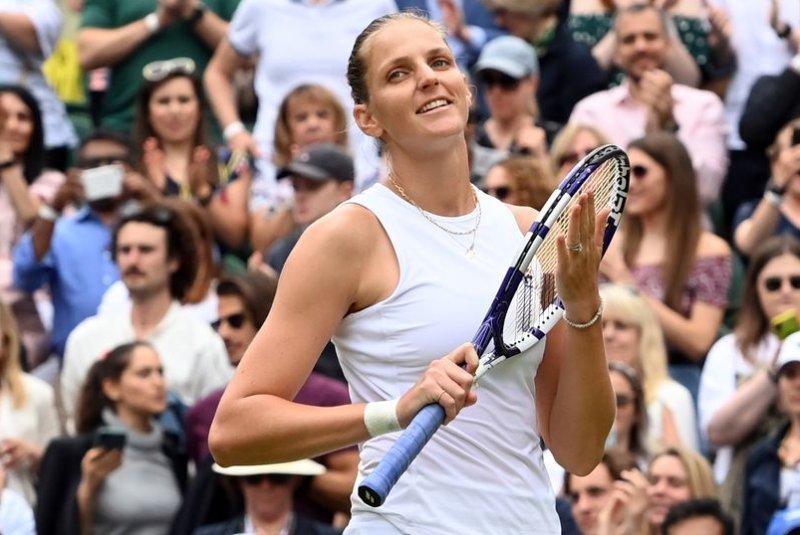 Karolina Pliskova of the Czech Republic (pictured) battles Ash Barty of Australia in the Wimbledon 2021 women's singles final at 9 a.m. EDT Saturday in London. Photo by Facundo Arrizabalaga/EPA-EFE