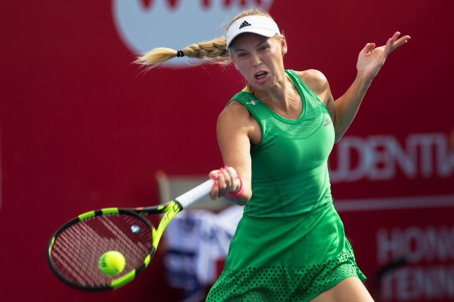 A sore back forced Caroline Wozniacki, the top seed, out at Strasbourg. File photo by JEROME FAVRE/UPI