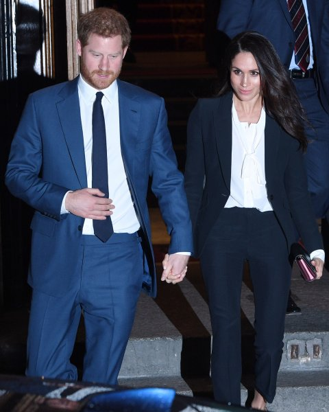 Prince Harry (L) and Meghan Markle attend the Endeavor Fund Awards in London on Thursday. Photo by Facundo Arrizabalaga/EPA-EFE
