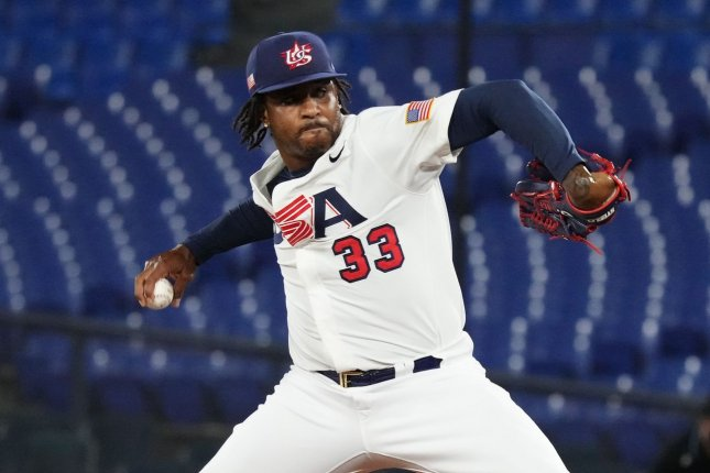 Team USA pitcher Edwin Jackson Jr. allowed a walk-off single to Japan in the bottom of the 10th inning in a baseball quarterfinal at the 2020 Summer Games on Monday in Yokohama, Japan. Photo by WBSC