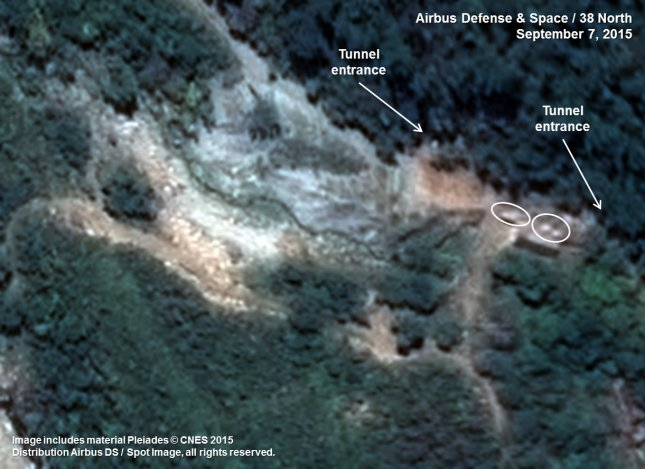The South Portal of North Korea's Punggye-ri Nuclear Test Site pictured on September 7, 2015. File photo courtesy of Airbus Defense & Space and 38 North.
