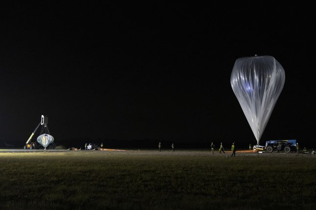 Space Perspective's test article for a planned passenger airship called Neptune is shown during a test on Friday at Space Coast Regional Airport. Photo courtesy of Space Perspective